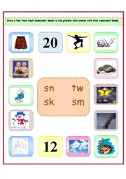 4 Consonant Blends: sn/sm/sk/tw