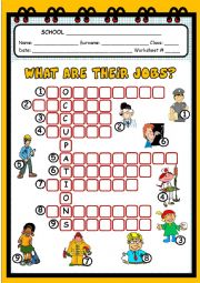 English Worksheet: WHAT ARE THEIR JOBS?