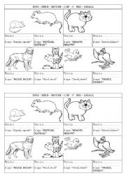 English Worksheets: The animals say...