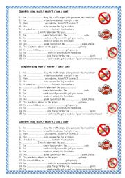 English Worksheet: Must mustn´t Can can´t