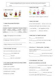 English Worksheet: 6th grade exam 2nd term