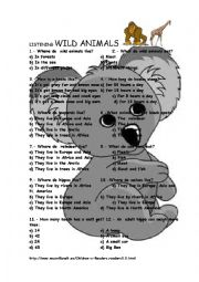 English Worksheets: WILD ANIMALS listening