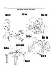 English teaching worksheets: Goldilocks and the Three Bears