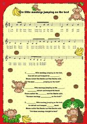 English Worksheet: Lyrics (fill in the blanks): Five little monkeys