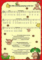 English Worksheet: Lyrics (fill in the blanks): Five little monkeys