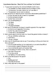 English Worksheets: Blood, Toil, Tears, and Sweat Comprehension Questions