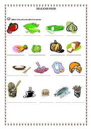 English worksheet: delicious food