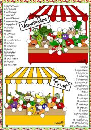 English Worksheet: Fruit and vegetables - matching