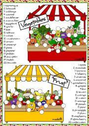 English Worksheet: Fruit and vegetables - matching
