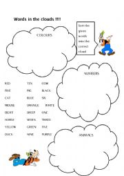 English Worksheets: Words in the clouds