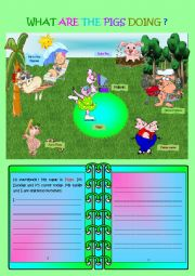 English Worksheets: Writing Time! What are the pigs doing? (part2)