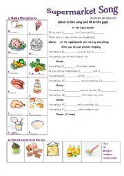 English Worksheet: supermarket song