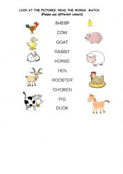 English Worksheets: LOOK AT THE FARM ANIMALS. MATCH