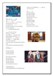 English Worksheet: Coldplay Paradise Lyrics