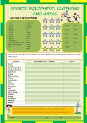 English Worksheet: Sports: equipment, clothing and areas