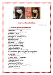 English Worksheet: GIVE YOUR HEART A BREAK - DEMI LOVATO