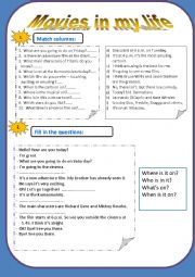 English Worksheets: Movies (Questions, dialogue)