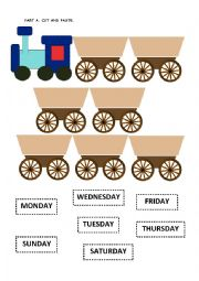 English Worksheet: Days of Week Train and Foods