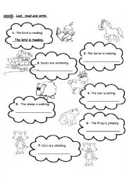 English Worksheet: Farm Animals and Actions