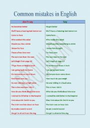 English Worksheet: Common mistakes in English