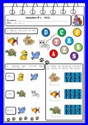 English Worksheets: Worksheet - pets