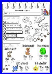 English Worksheets: Worksheet - pets & colours