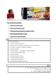 English Worksheet: commercials