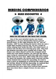 English Worksheets: READING COMPREHENSION - ALIEN ENCOUNTER