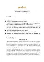 English Worksheets: REAL AND FANTASY WORLD (PART 1 OF 4)