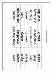 English Worksheet: electricity vocabuary and safety rules