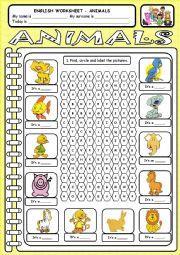 English Worksheets: Worksheet - Animals