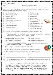 English Worksheet: Just The Way You Are - Vocabulary Activities using the Bruno Mars� song