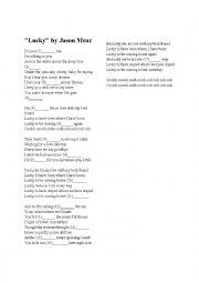 English Worksheets Jason Mraz Lucky