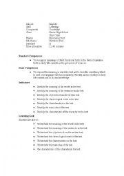 English Worksheets: listening action plan