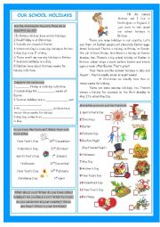 English Worksheet: Our School Holidays (Holidays, Festivals & Dates)