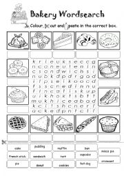 Bakery Wordsearch (Colour, Cut and Paste Exercise)