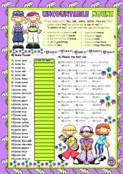 English Worksheet: UNCOUNTABLE NOUNS