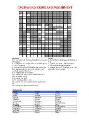 English Worksheet: Crime and Punishment crossword