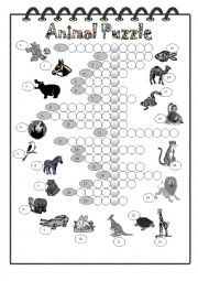 English Worksheets: Animal Crossword with Secret Message