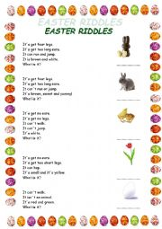 English Worksheet: Easter riddles for very young learners