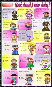 English Worksheet: What should I wear? B/W version :- Answer Key