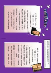 English Worksheets: FAMOUS STARS