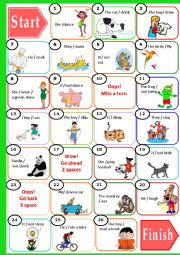 English Worksheet: Present Continuous Board game for young learners