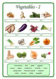 English Worksheet: Vegetables I