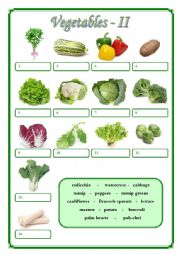 English Worksheet: Vegetables II