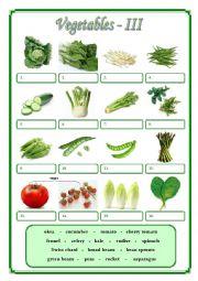 English Worksheet: Vegetables III