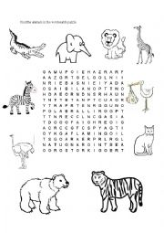 English Worksheets: Animal Wordsearch Puzzle