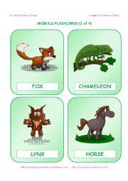 English Worksheet: ANIMALS FLASHCARDS (1 OF 4)