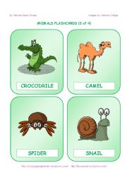 English Worksheet: ANIMALS FLASHCARDS  - 2 OF 4