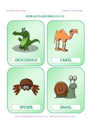 English Worksheet: ANIMALS FLASHCARDS  - 2 OF 4
